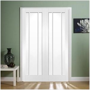 XL Joinery Internal White Primed Worcester Clear Glass Door Pair-Door Store Rotherham