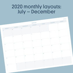 Printable: Monthly Layouts - July to December 2020