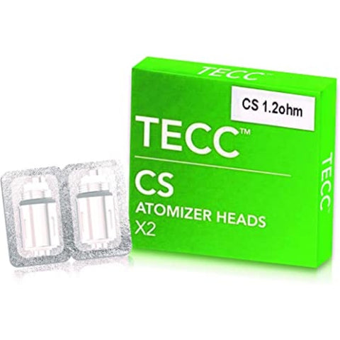 TECC CS Atomizer Heads 1.2 ohm Coil - Compatible with Totally Wicked / CS Air Tanks - Pack of 2