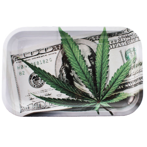 Metal Rolling Tray - 100 Dollar Bill - Medium Size