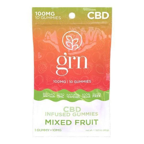 GRN - CBD Broad Spectrum Gummies - 100mg - MIXED FRUIT