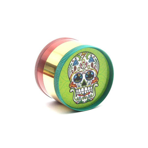 52mm Metal 4 Part Grinder - Candy Skull