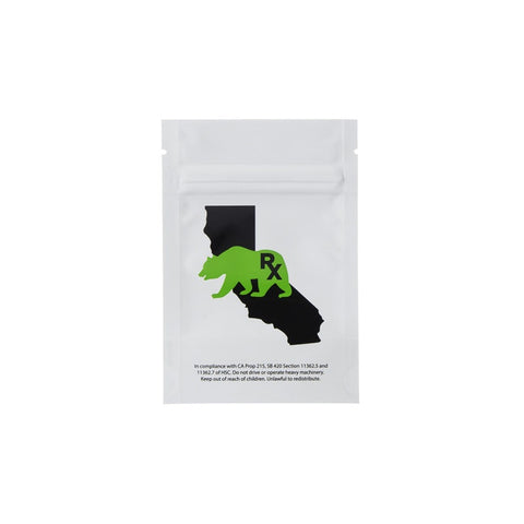 3.5g x 12 Cali Bear White/Clear Barrier Mylar Smell Proof Bags