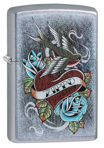 Zippo Classic Lighter - Vintage Tattoo - Street Chrome
