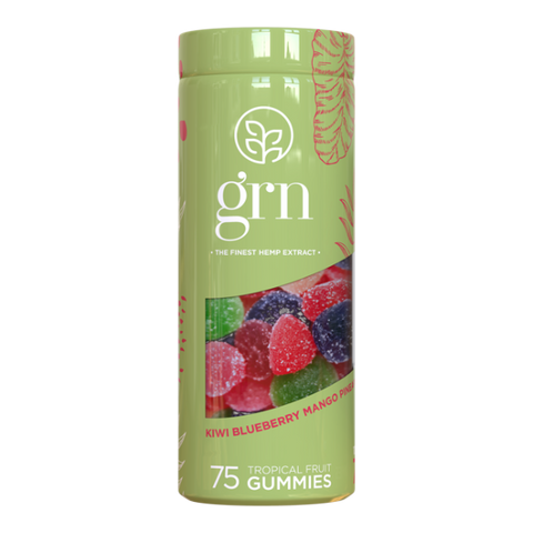 GRN - 750mg CBD Gummies - Tropical Fruit - Kiwi, Blueberry, Mango, Pineapple, Strawberry