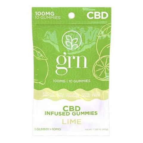 GRN - CBD Broad Spectrum Gummies - 100mg - LIME