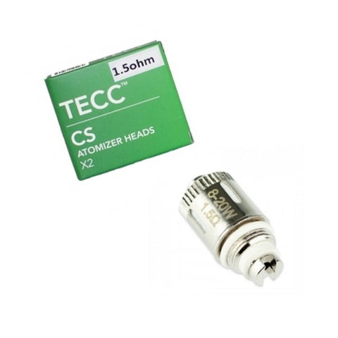 TECC CS Atomizer Heads 1.5 ohm Coil - Compatible with Totally Wicked / CS Air Tanks - Pack of 2
