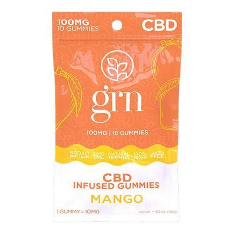 GRN - CBD Broad Spectrum Gummies - 100mg - MANGO
