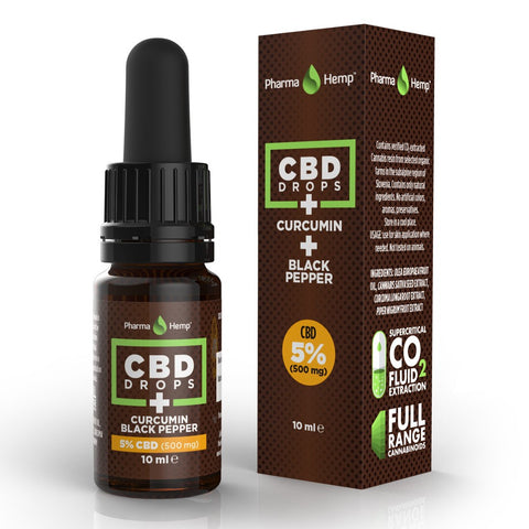 PharmaHemp - CBD Oil Drops + Curcumin 5% / 500mg CBD 10ml - The JuicyJoint