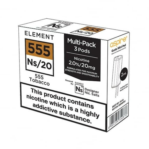 Element E-liquids NS20 - Aspire Gusto Pods