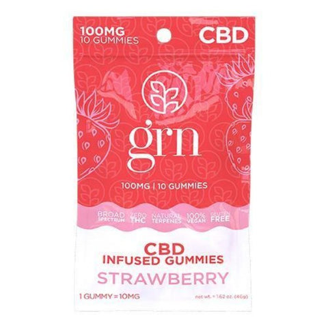 GRN - CBD Broad Spectrum Gummies - 100mg - STRAWBERRY