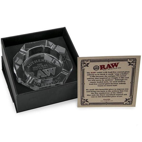 "RAW® Crystal Glass Ashtray 1"" x 5.25"" Diameter"