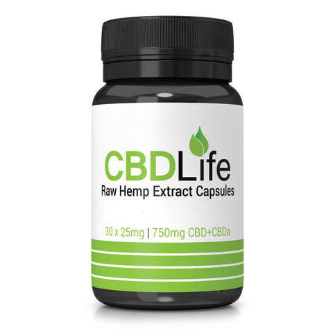 CBD Life - Raw Hemp Oil Vegan Friendly Capsules (30 x 25mg) 750mg CBD+CBDa