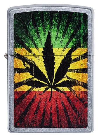 Zippo Classic Lighter - Rasta Leaf - Street Chrome