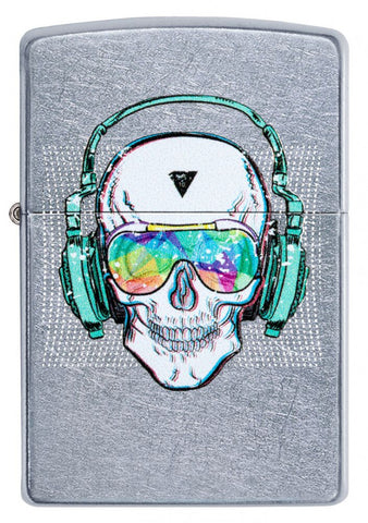 Zippo Classic Lighter - Headphone Skull - Street Chrome