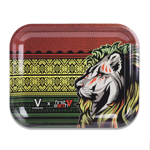 Rasta Lion - Metal Rolling Tray by V Syndicate