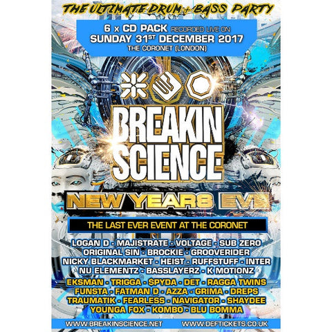 Breakin Science New Years Eve 2017/2018 - Drum And Bass Cd Pack - The JuicyJoint