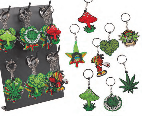 Rubber Leaf / Rasta / Mushroom Keyring - The JuicyJoint
