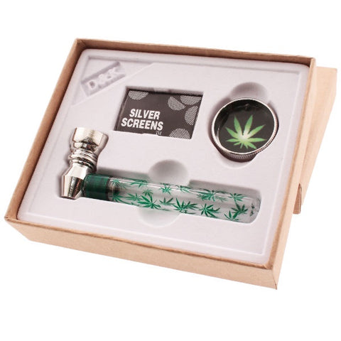Glass Pipe Gift Set - Leaf Design