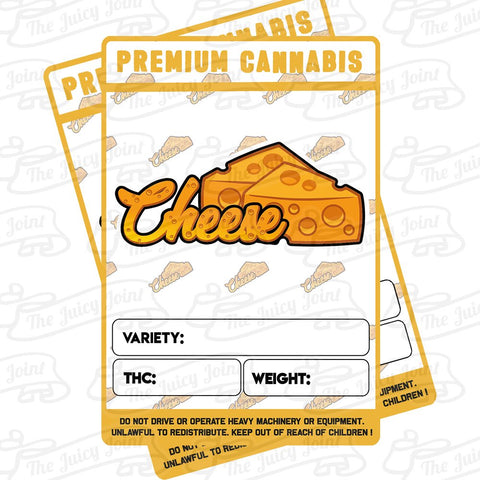 Mylar Bag Stickers - Cheese x 12 - 3.5 Strain Label