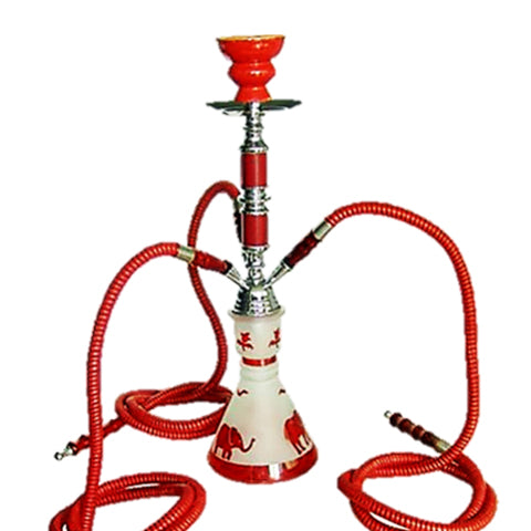 Shisha Pipe - 3 Person, 75cm, Red