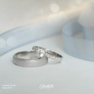 Silver Engagement Ring CK-24 (female) & D-10 (male)