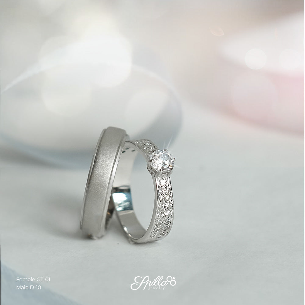 Engagement Ring GT-01 (Female) & D-10 (Male) Silver