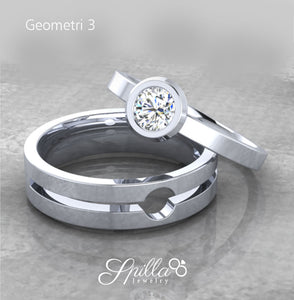 Couple Ring Geometri 03 Silver