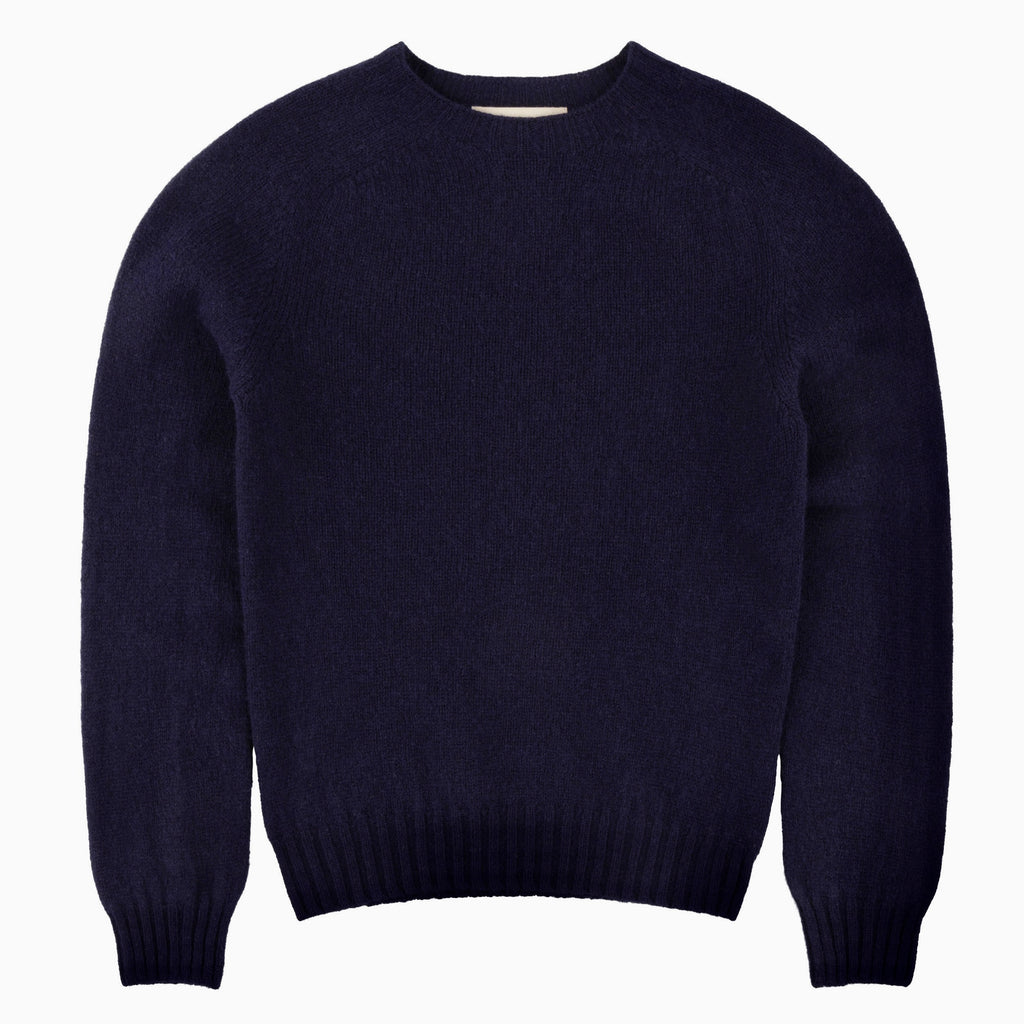 Carrier Company Shetland Lambswool Jumper in Navy