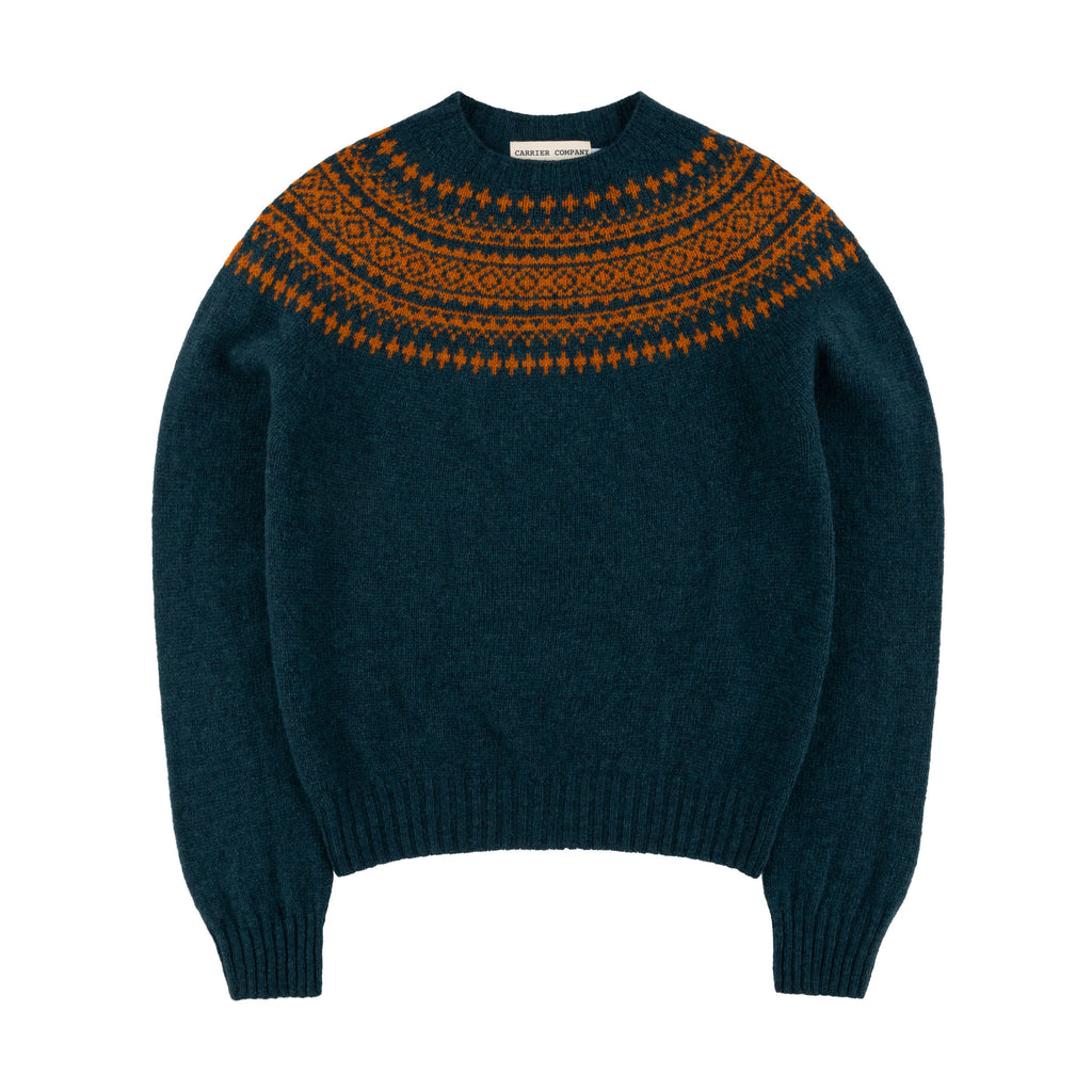 Carrier Company Shetland Lambswool Yoke Jumper in Ginger and Teal