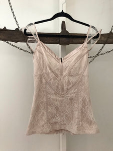 Fresh Soul nude fine lace sleeveless top Size 8
