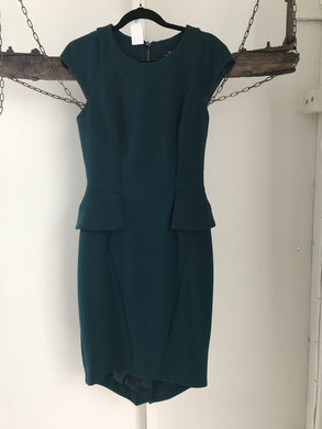 Cue Deep Green Peplum Dress Size 8