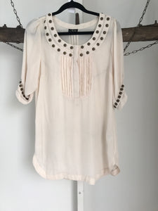 Bardot Cream Sheer Blouse Size 10