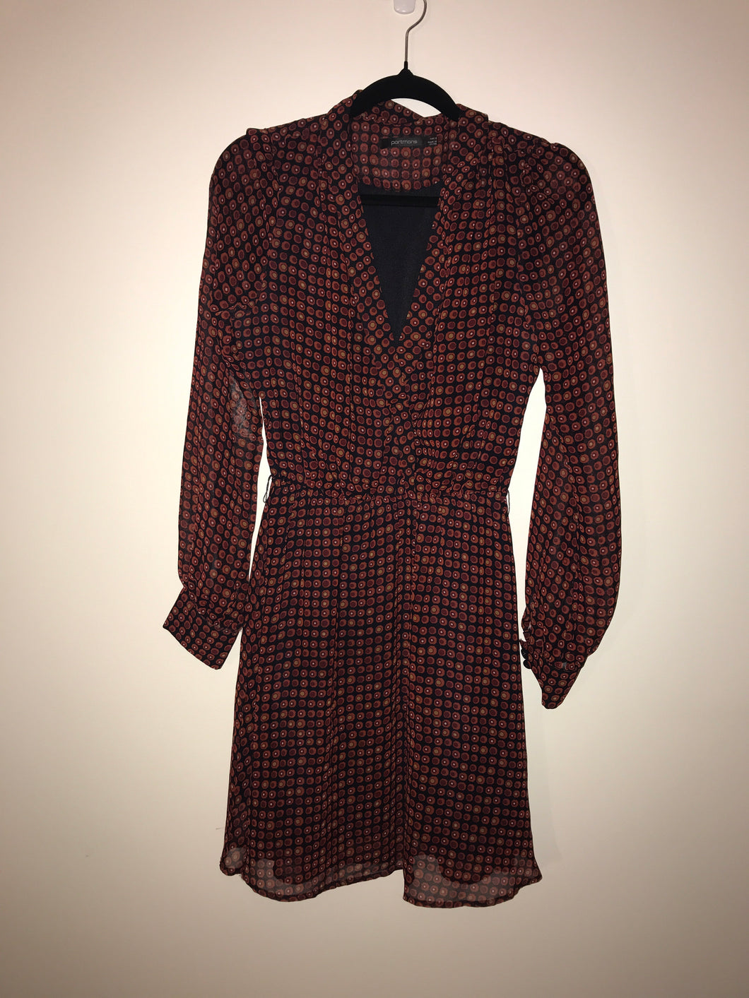 Portmans maroon spotted long sleeve dress Size 8