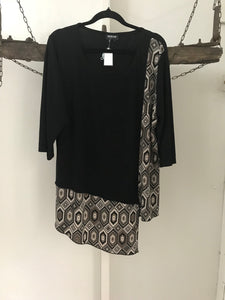 Worship black/ brown side pattern 3/4 sleeve Size 18