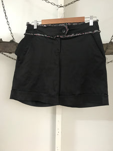 French Kitty Black With Floral Trim Shorts Size S (10)