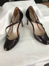 Diana Ferrari burgundy,  patent leather,baby doll stilettos Size 7 1/2