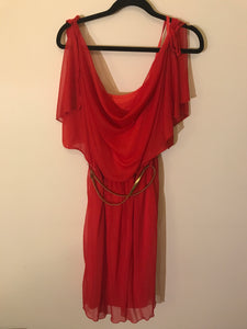 River Island red chiffon dress with gold belt Size 8