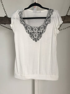Quirky Circus Black & White Top Size 10