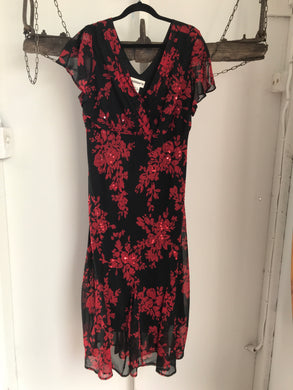 Millers Black/Red Floral Dress Size 16