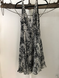 Zara grey and black print silk dress size 8