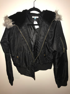 Valleygirl Black bomber jacket waterproof with fur hoodie Size 12