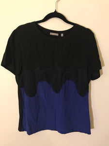 Jigsaw blue/black silk top Size Medium (10 estimate)