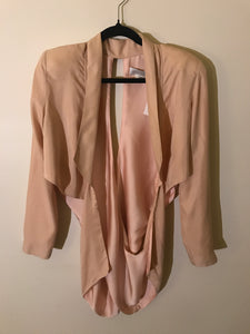 Alice McCall pure silk nude pink cross-over back dress jacket Size 10