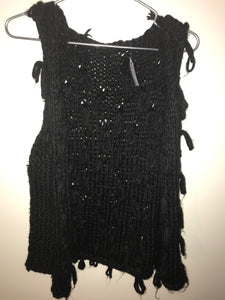 No label black shaggy knit vest Size Small (estimate)