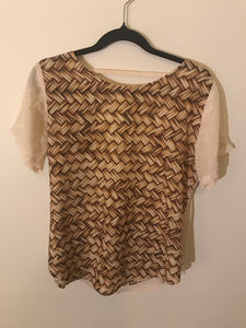 Maurice & Eve woven print brown/nude top open back Size 10