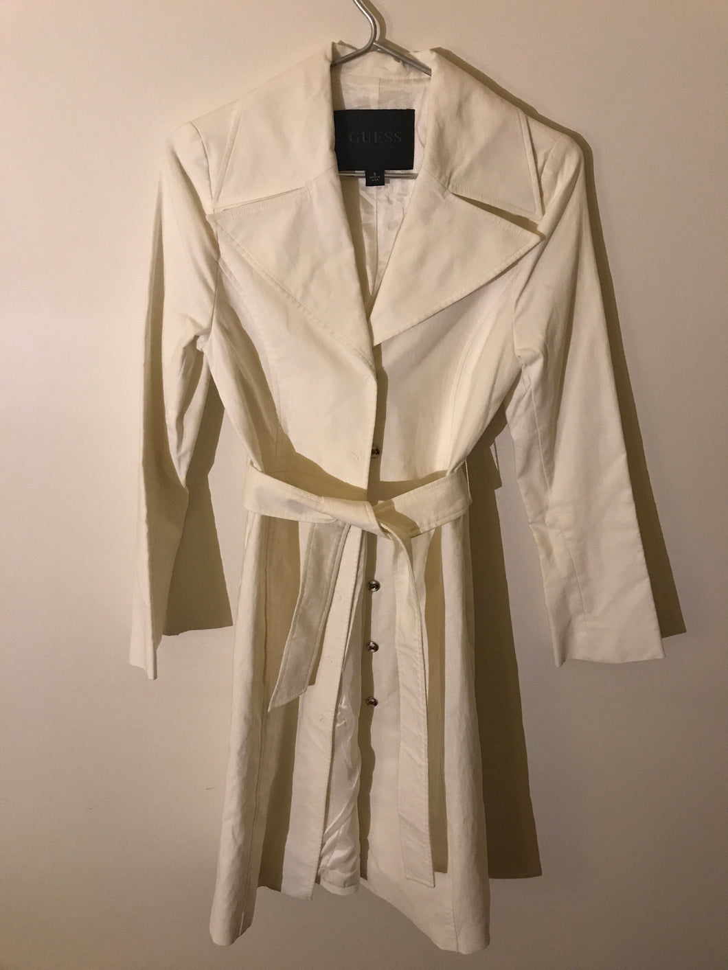 Guess off-white long coat with belt Size Small (6-8 estimate)