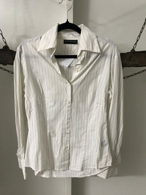 Under the table white with black pinstripe blouse Size 8