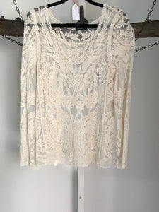 Dotti Cream Lace Long Sleeve Top Size S (8)