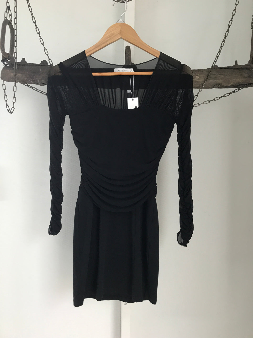 Mink Pink Black Long Sheer Sleeve Dress Size 8 NWT